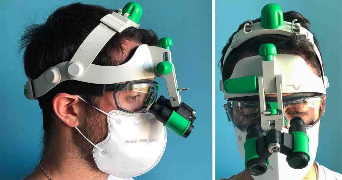 integrazione protezione e ingraditore su caschetto: Caschetto Univet con occhiale protettivo 5X1 a visiera e mascherina